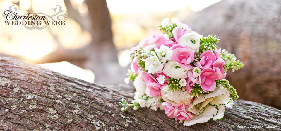 Pink White Bouquet at Boone Hall