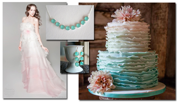 Pink and Mint / Aqua Green Ombre Wedding Dress and Cake