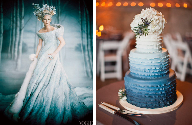 White Slate Blue Ombre Cake Dress