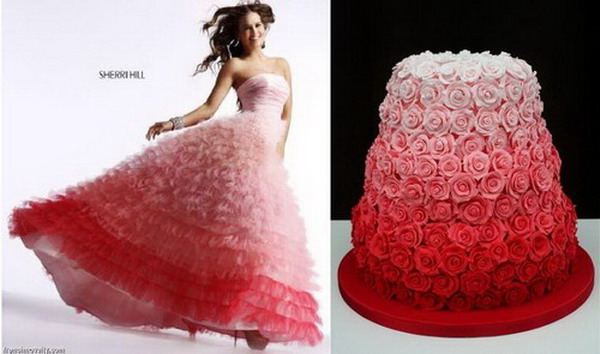 pink-and-red-rose-ombre-wedding-cake-and-dress