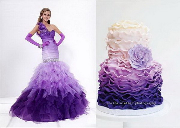 purple-ombre-wedding-cakes-and-dress