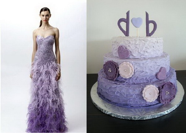 strapless-mermaid-purple-ombre-wedding-cake-and-dress