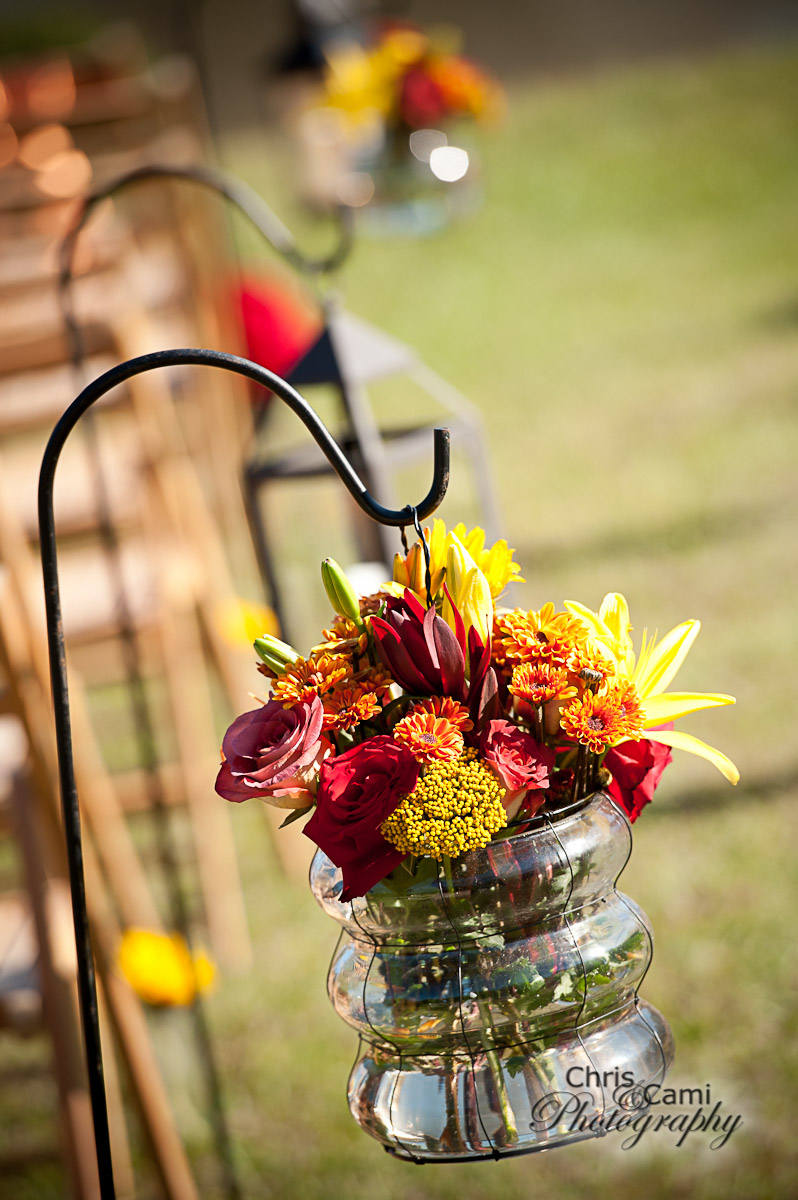 Fall aisle decor by WildFlowers, Inc., Summerville, SC