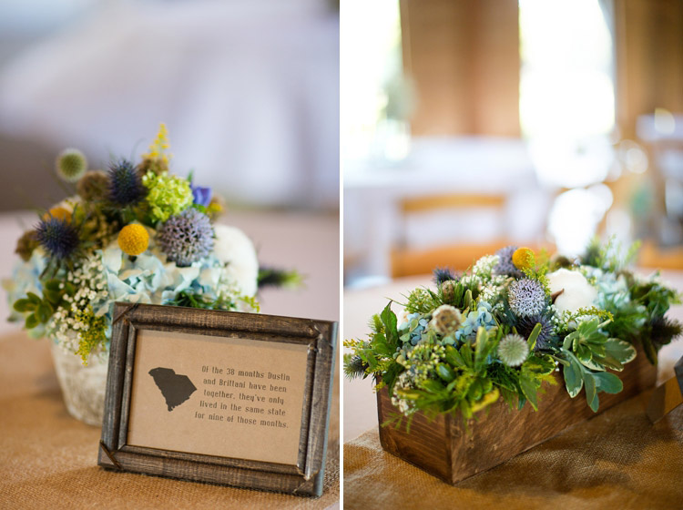Wooden box centerpieces wildflowersinc