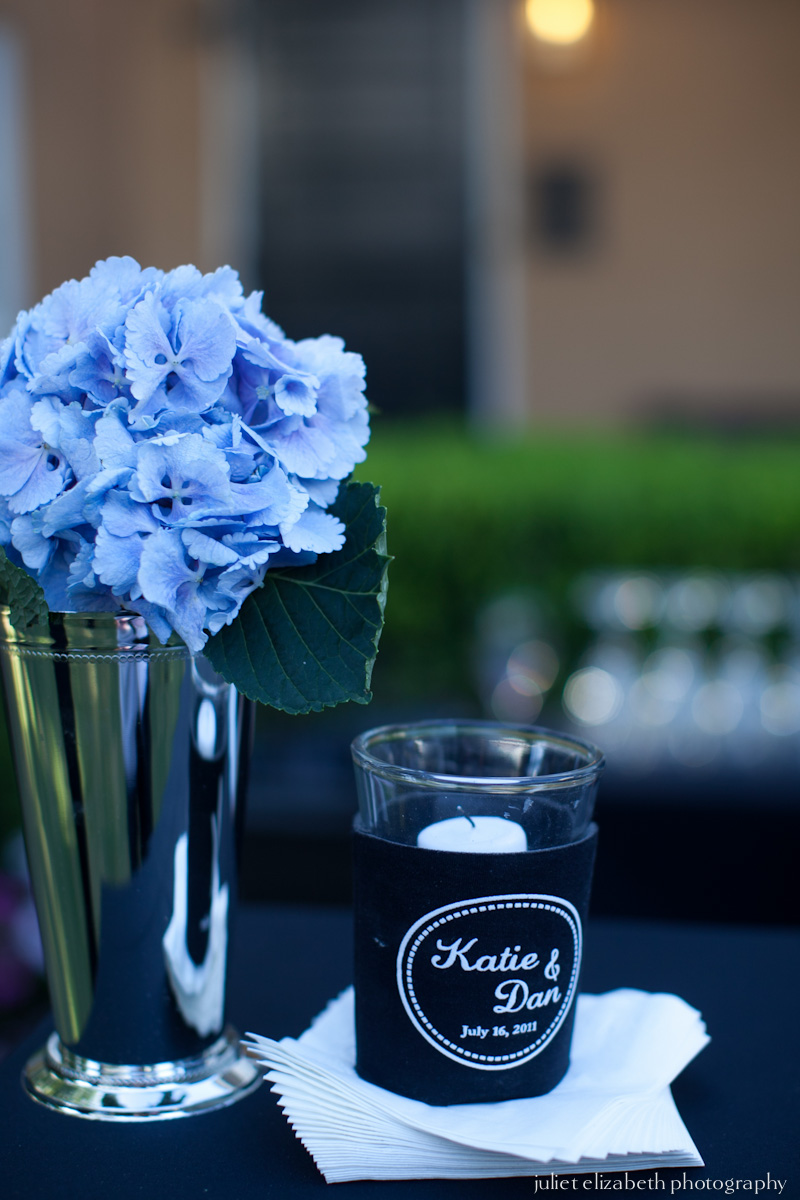 Mint julep cup with hydrangea.
