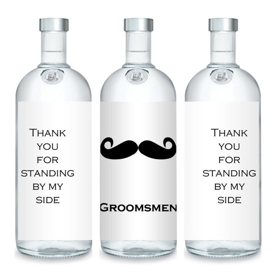 Bottle Labels Wedding Favors Thank You Mustache Bachelor Party Best Man Usher Groom Groomsmen Gifts