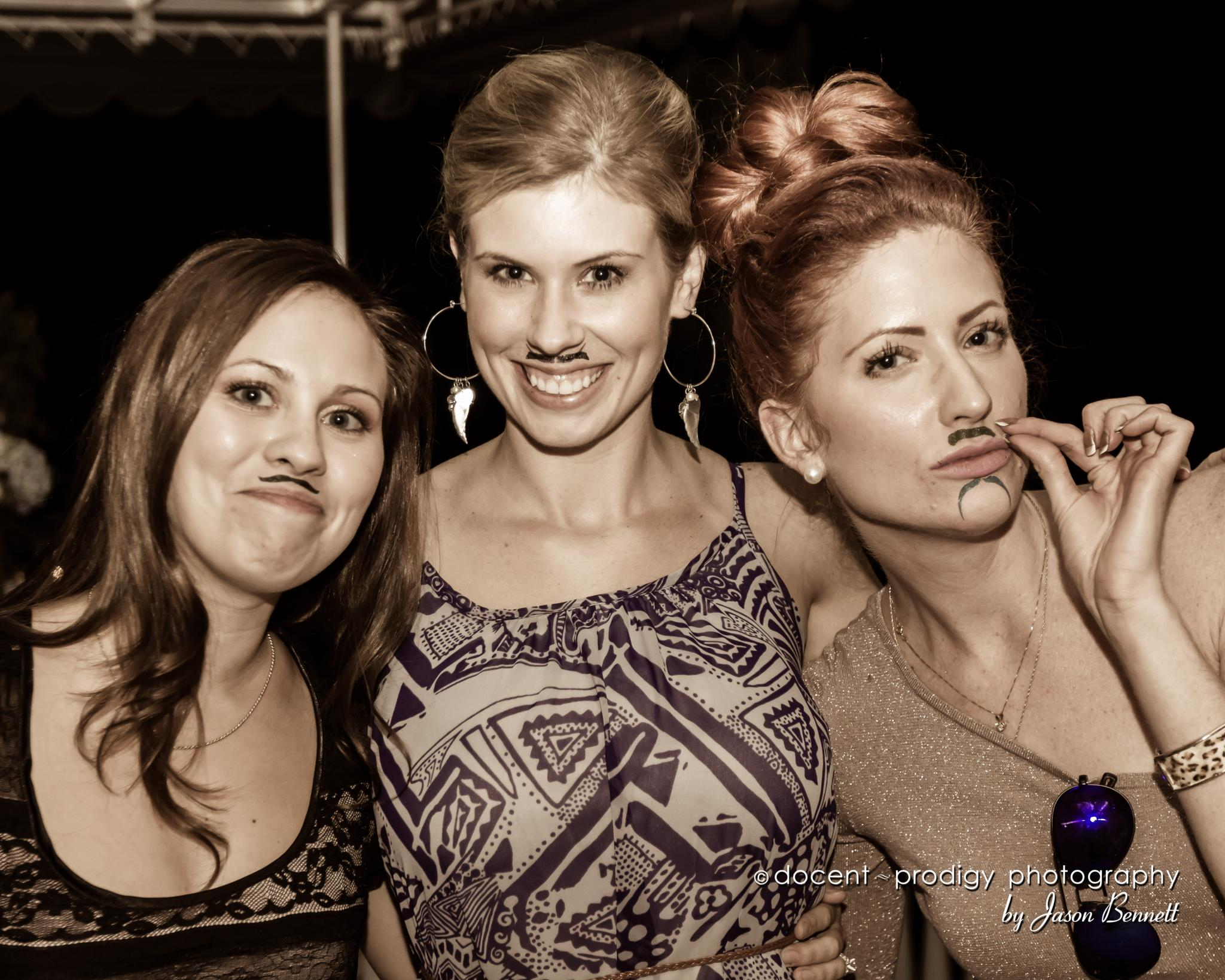 Wedding guests sport mustache
