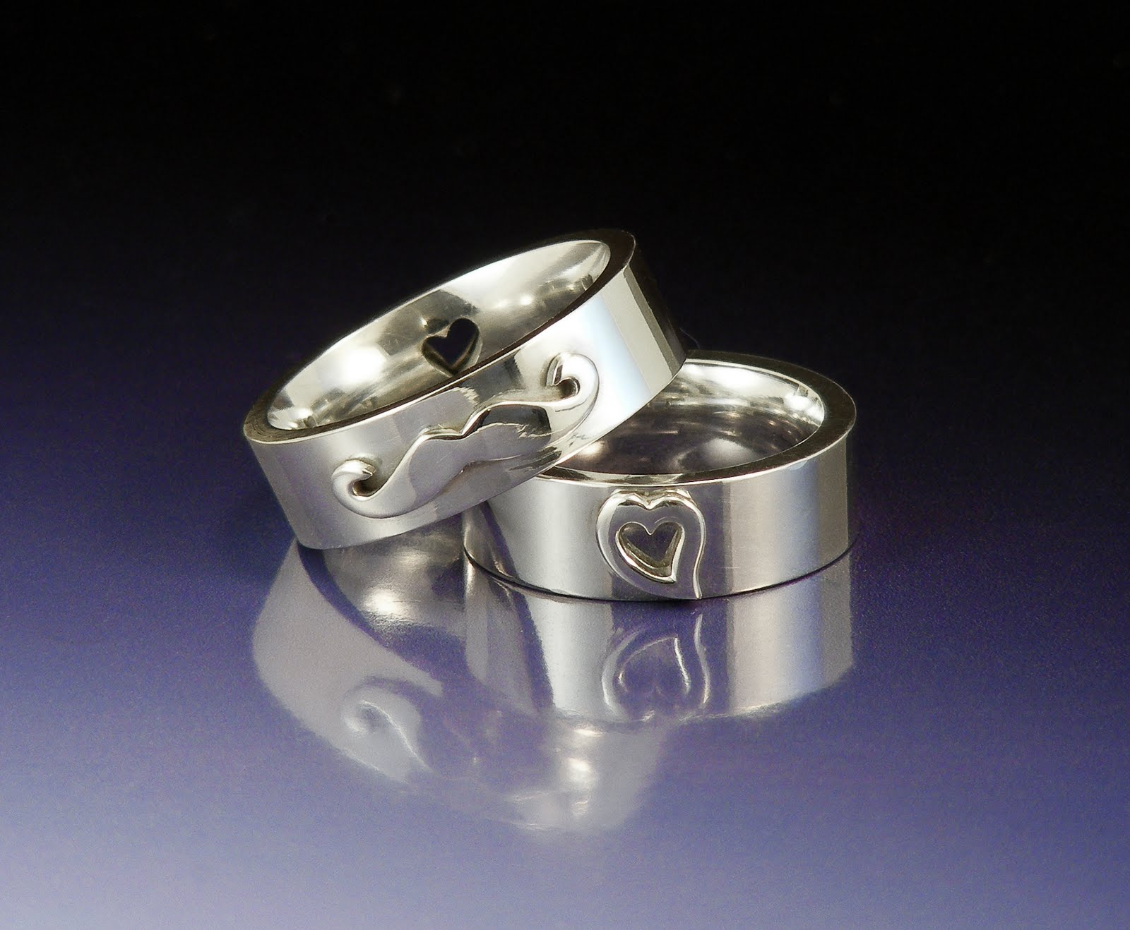 Mustache wedding rings