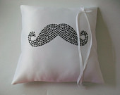 Mustache Wedding Ring Bearer Pillow
