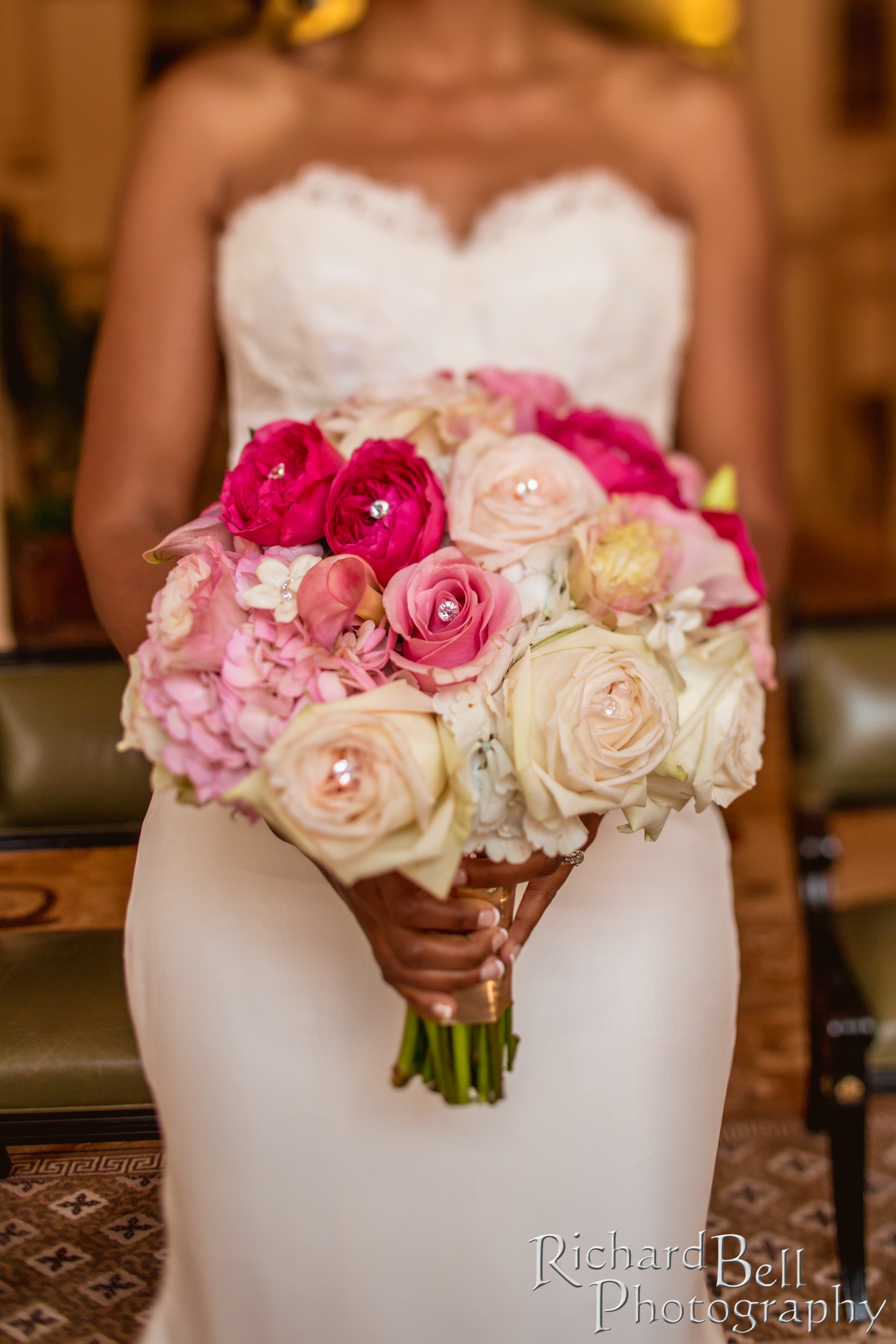 Romantic garden florals in pinks with lots of crystal accents ...